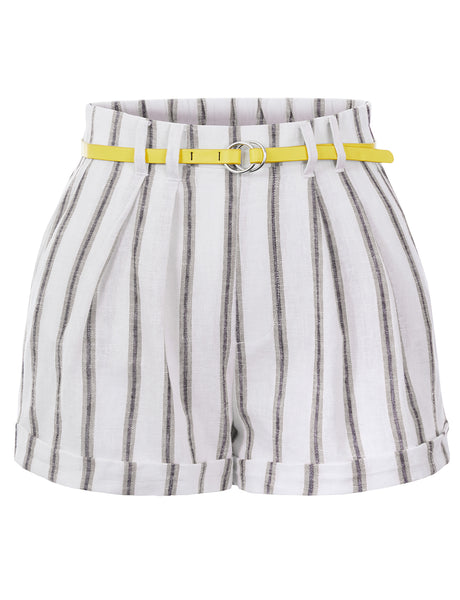 Womens Striped High Waist Cotton Blend Roll Up Belted Linen Shorts With Pockets (WB4694)