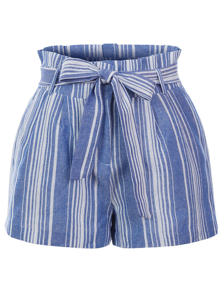 Womens High Waist Cotton Linen Striped Paperbag Belted Shorts with Pockets (WB4701)