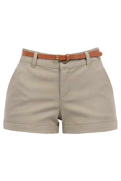 Womens Stretchy Brushed Twill Low Rise Cuffed Belted Shorts with Pockets (WB4705)