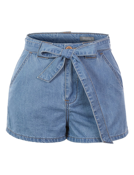 Womens Casual High Rise Cotton Denim Self Tie Belt Shorts with Pockets (WB4707)