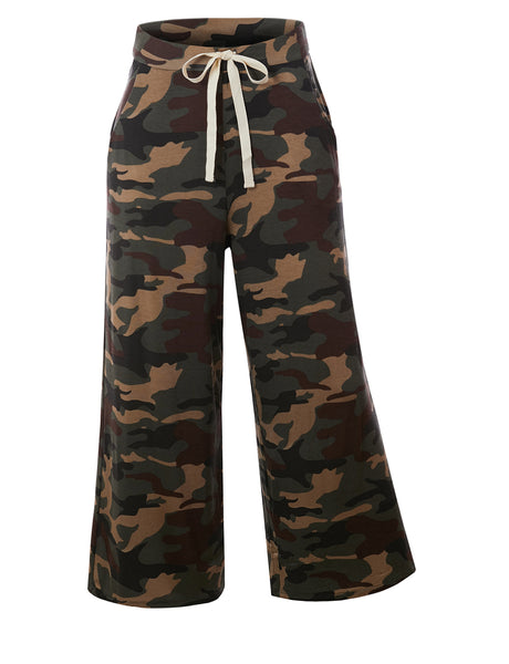 Womens Camouflage Print Cropped Wide Leg Lounge Pants with Drawstring Waist (WB4727)