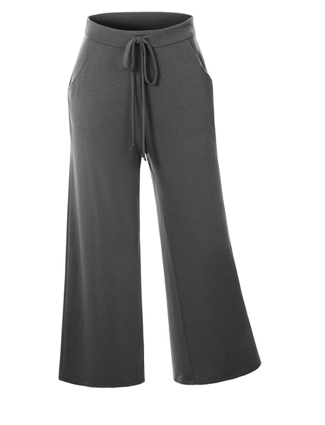 Womens Casual Loose Cropped Wide Leg Lounge Pants with Drawstring Waist (WB4728)