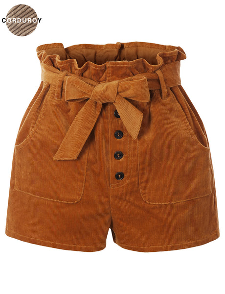 Womens Cinched High Waist Corduroy Shorts with Belt (WB4759)