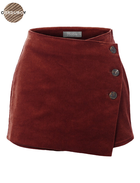 Womens Casual High Waisted Asymmetrical Front Mini Skort (WB4763)
