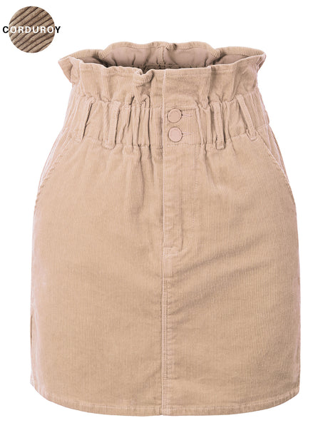 Womens Cinched High Waisted Corduroy Mini Skirt with Side Slit (WB4769)