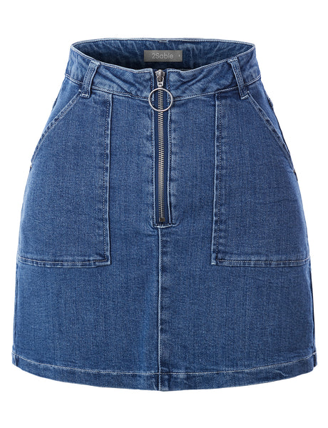 Womens Casual High Waisted Stretchy A-Line Denim Skirt (WB4773)
