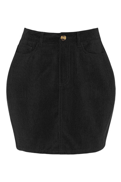 Womens Classic Stretchy High Waisted Corduroy Mini Skirt (WB4781-PREORDER 7/26)