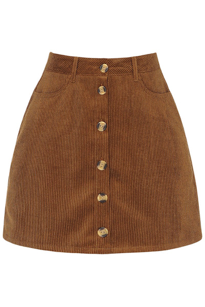 Womens High Waisted Button Front Corduroy Mini Skirt (WB4783)