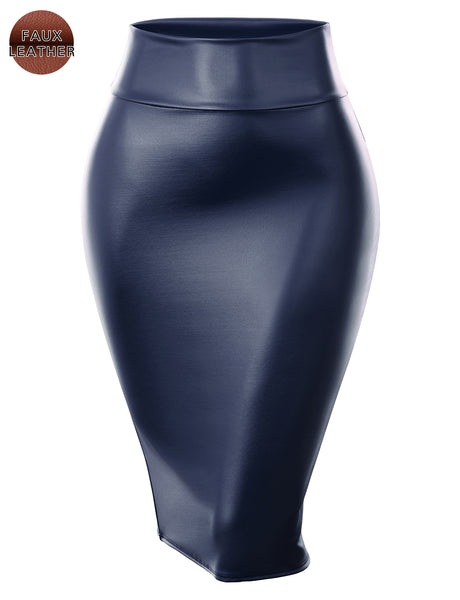 Womens Fitted Stretchy Pleather Midi Skirt (WB4799)