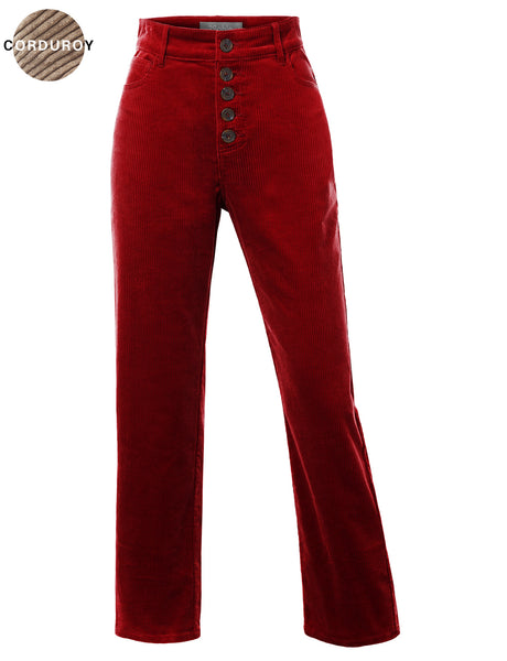 Womens Stretchy High Rise Wide Leg Button Up Corduroy Pants (WB4808)