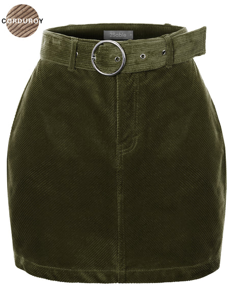 Womens High Waisted Corduroy Mini Skirt with Removable Belt (WB4812-PREORDER 08/02 )