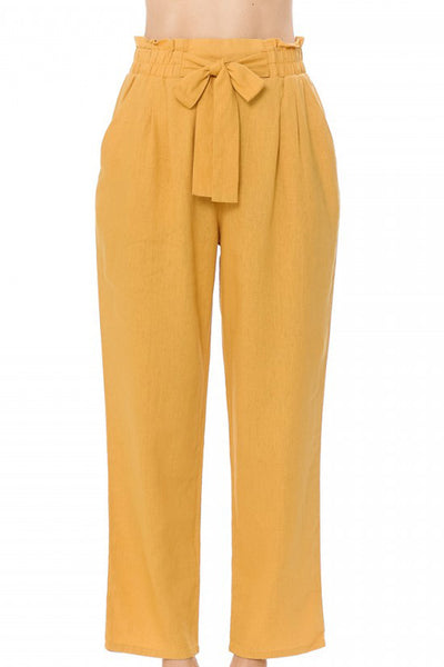Womens High Waisted Ankle Pants with Front Tie (WB4903)