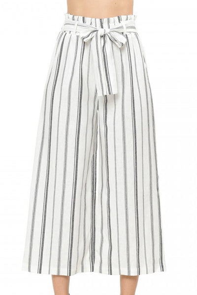 Womens High Waisted Linen Blend Striped Gaucho Pants with Belt (WB4904)