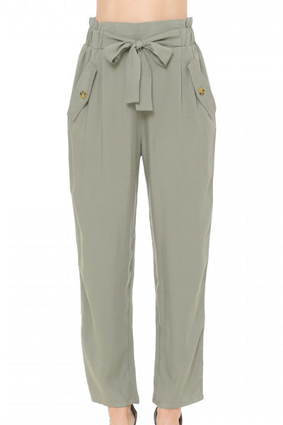 Womens High Waisted Cigarette Pull On Pants with Front Tie (WB4906)
