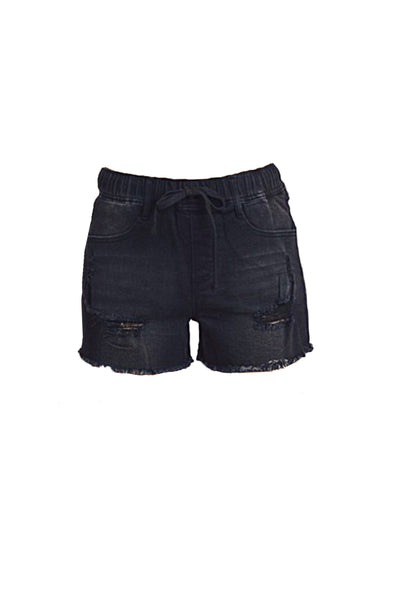 Womens Plus Size Distressed Elastic High Waist Denim Shorts with Pockets (WB4921P-PREORDER 3/02/2020)