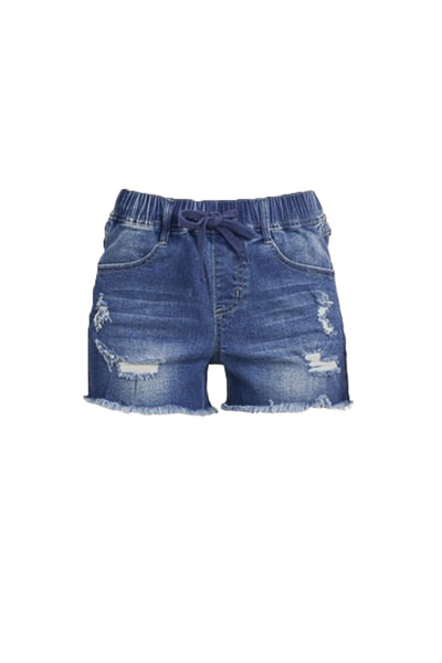 Womens Distressed Elastic High Waist Denim Shorts with Pockets (WB4921-PREORDER 3/02/2020)