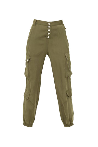 Womens Lightweight Satin Cargo Jogger Pants With Pockets (WB4926)