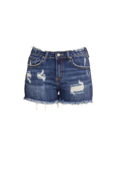 Womens Distressed Frayed Mid Rise Denim Shorts with Pockets (WB4949)