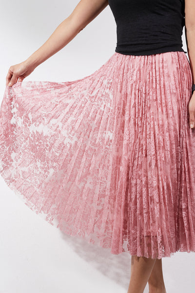 Womens High Waisted Pleated Lace Flared Midi Skirt (WB4954)