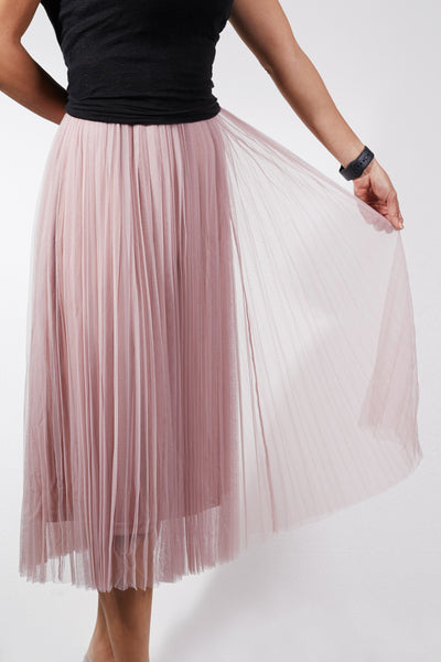 Womens High Waisted Pleated Mesh Midi Skirt (WB4955)