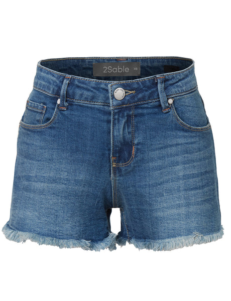 Womens Casual Distressed Cut Off Denim Jean Shorts with pockets (WD3375)