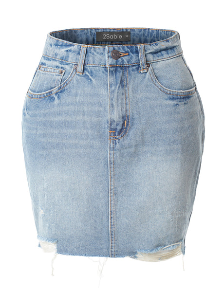 Womens Casual Vintage Distressed Ripped Denim Mini Skirt (WD3613)