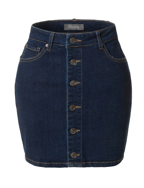 Womens Casual Mid Rise Vintage Button Down Denim Skirt with Pockets (WD3696)