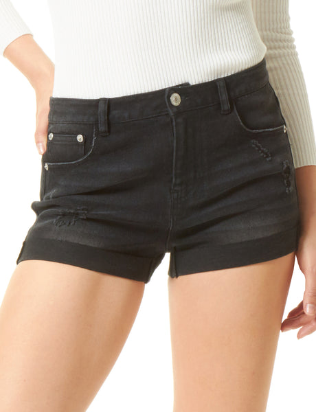 Womens Medium Rise Stretchy Ripped Rolled Cuffs Denim Shorts (WD3712)