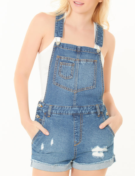 Womens Distressed Ripped Denim Overall Shorts with Pockets (WD3733)