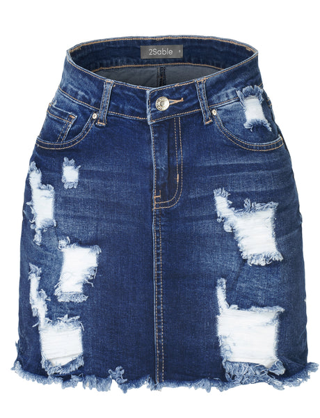 Womens Plus Size Stretchy Vintage Ripped Frayed Denim Skirt with Pockets (WD3780P)