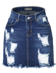 aa73ba5fc Womens Plus Size Stretchy Vintage Ripped Frayed Denim Skirt with Pockets  (WD3780P)