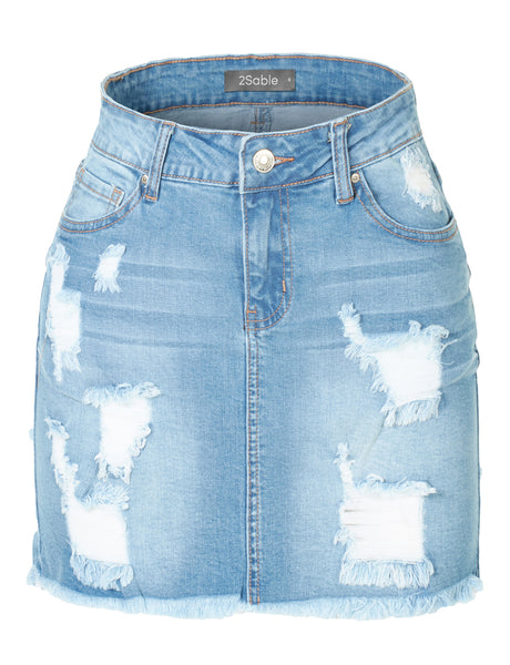 Womens Stretchy Vintage Ripped Frayed Denim Skirt with Pockets (WD3780)