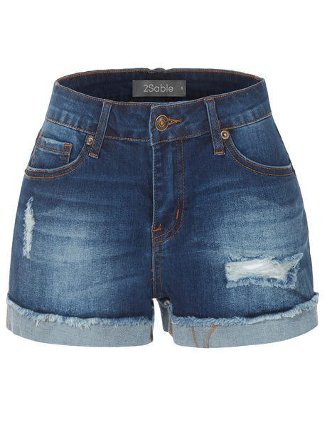 Womens Stretchy Distressed Medium Rise Cuffed Denim Shorts with Pockets (WD3801)