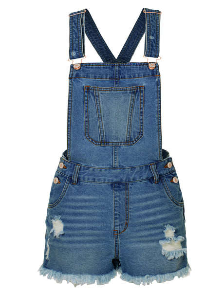 Womens Distressed Ripped Frayed Hem Denim Overall Shorts with Pockets (WD3829)