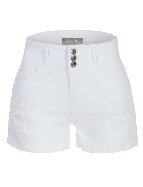 Womens Casual High Rise Ripped Stretch White Denim Short with Pockets (WD3860)