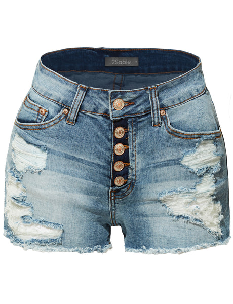 Womens Stretchy Button Down Destroyed Denim Shorts with Pockets (WD3899)