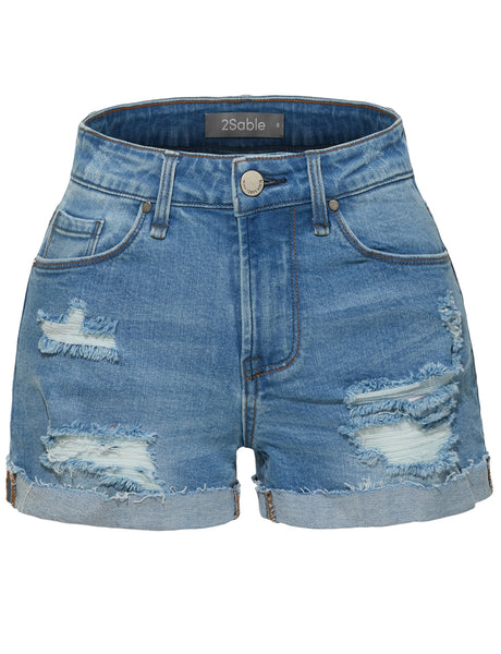 Womens Stretchy High Rise Rolled Cuff Ripped Denim Shorts with Pockets (WD3961)