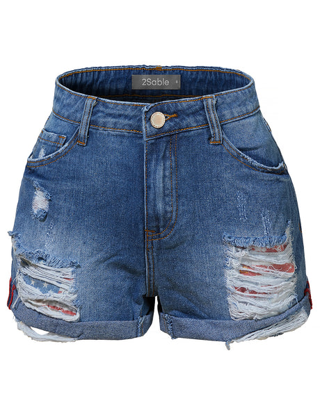 Womens Casual Distressed Ripped Mid Rise Denim Shorts with Rolled Cuff (WD3979)