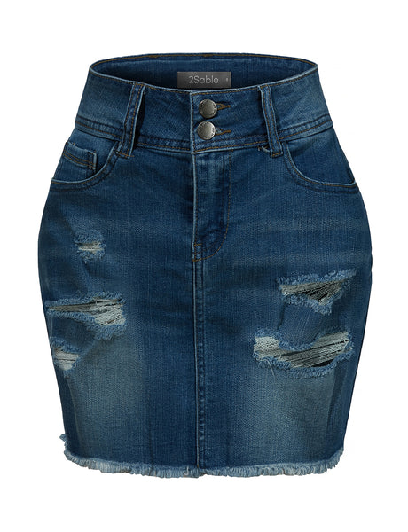 Womens Vintage Distressed Ripped Frayed Hem Denim Mini Skirt with Pockets (WD4059)