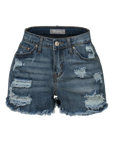 Womens Stretchy Fitted Medium Rise Ripped Denim Shorts with Pockets (WD4103)