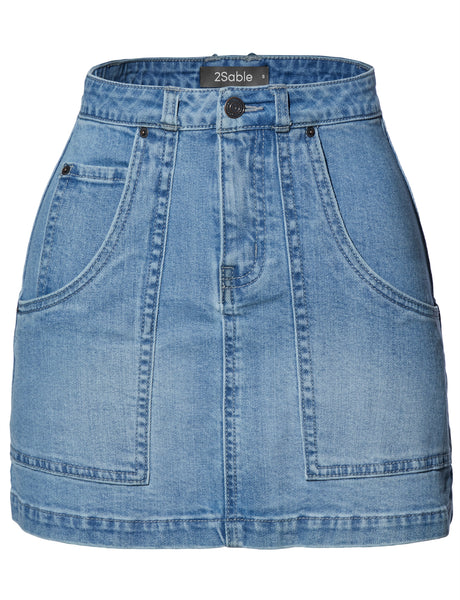 Womens Casual Vintage Distressed A Line Denim Jean Mini Skirt with Pockets (WD4225)