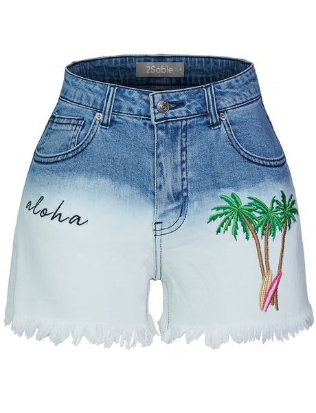 Womens Ombre Washed Mid Rise Frayed Hem Denim Shorts with Palm Trees Embroidery (WD4334)