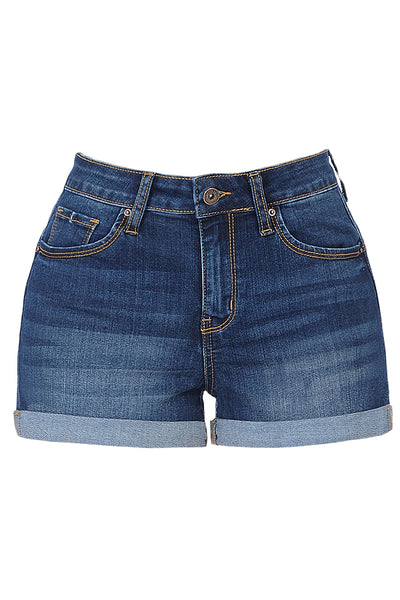 Womens Cuffed High Rise Push Up Denim Jean Shorts (WD4446)