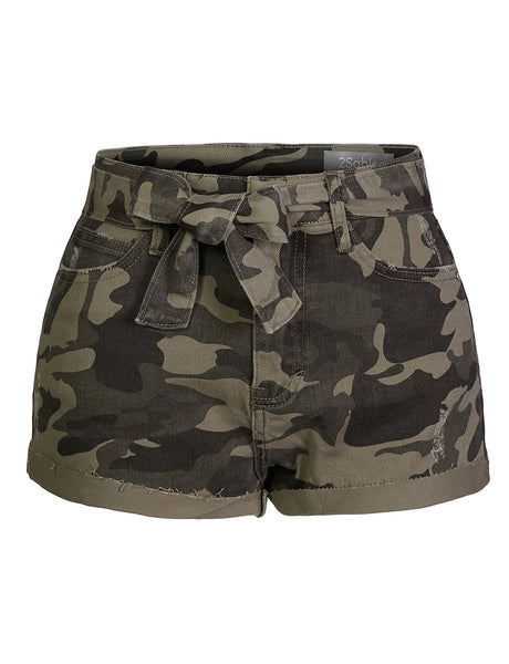 Womens Camo Print High Rise 5 Pocket Style Ripped Tie Front Denim Shorts  (WD4540)