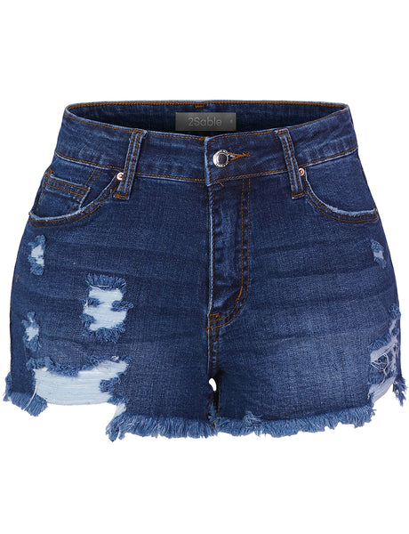 Womens Casual Vintage Mid Rise Frayed Hem Denim Shorts (WD4571)