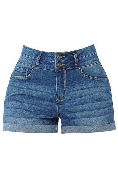Womens Casual 2 Button High Rise Rolled Cuff Push Up Denim Jean Shorts (WD4673)