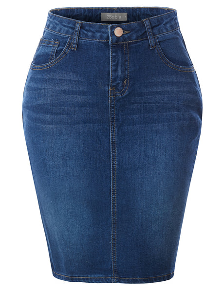 Womens Stretchy Mid Rise Push Up Cotton Denim Jean Pencil Midi Skirt (WD4731)