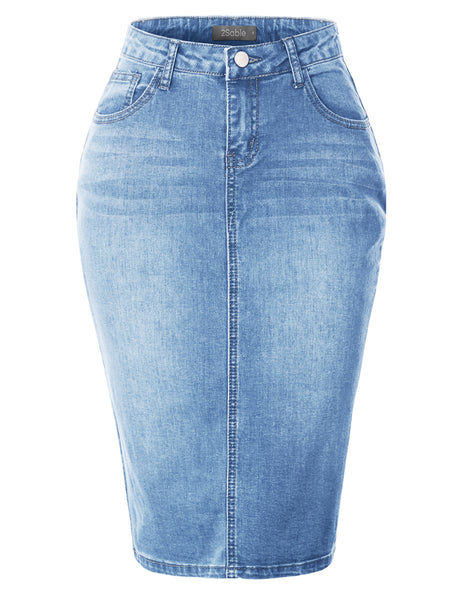 Womens Stretchy Mid Rise Push Up Cotton Denim Jean Pencil Midi Skirt (WD4732)