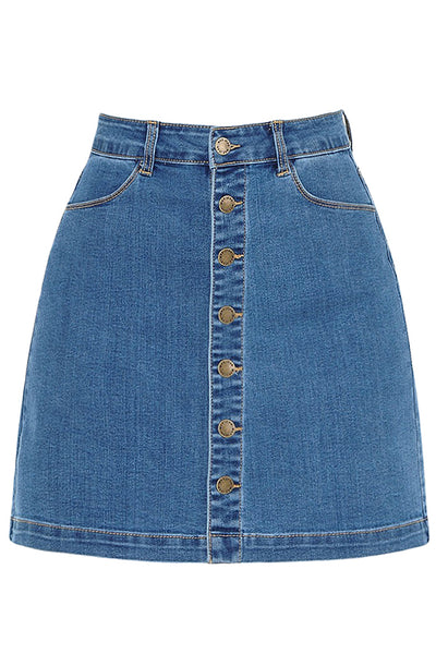 Womens Casual Mid Rise Stretchy Button Up A-Line Denim Skirt (WD4749)