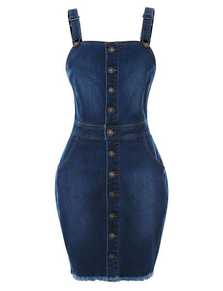 Womens Frayed Hem Denim Overall Dress with Pockets (WD4753)